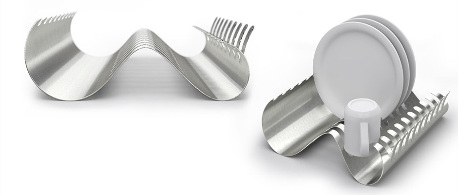 Design of a dish rack made from stamped and bent stainless steel