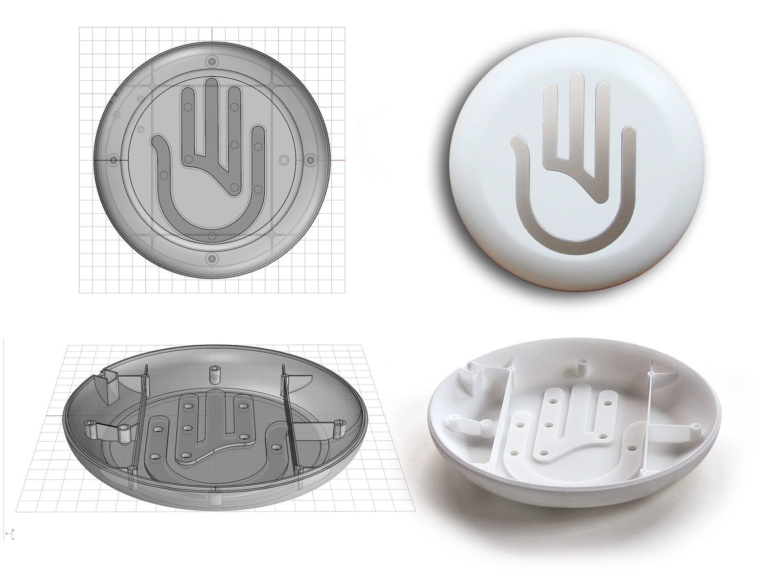 Ein per 3D-Druck hergestelltes Gehäusemodell. Auf der linken Seite sind die erstellten 3D-Daten zu sehen, rechts oben das fertiggestellte Modell inklusive Lackierung.