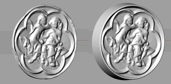 3D-Scan vor und nach der Optimierung